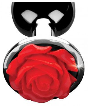 Kleine metalen buttplug met rode roos versiering